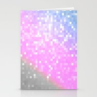 pixel Stationery Cards featuring Pink Lavender Gray Pixels by WhimsyRomance&Fun