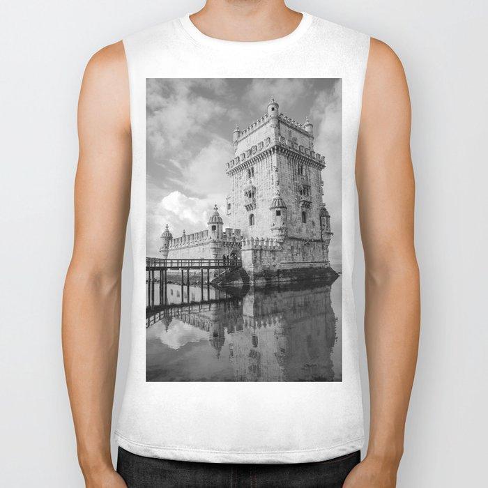 Belem Tower Black white photo Biker Tank