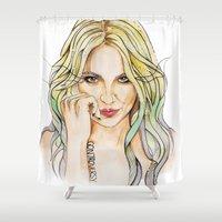 britney spears Shower Curtains featuring BRITNEY S. by CARLOS CASANOVA