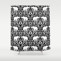 Black And White Damask Shower Curtain damask shower curtains | society6