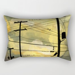 Telephone wires with green clouds Rectangular Pillow