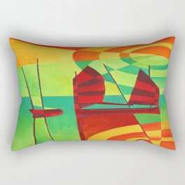 Chinese Junks On Still Waters Rectangular Pillow