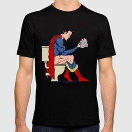 Superhero On Toilet, Restroom, bathroom art T-shirt