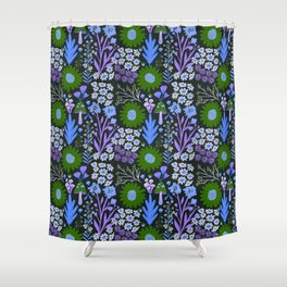 Wild flowers in Moss Shower Curtain