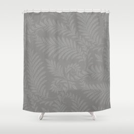 Pantone Pewter Fancy Leaves Scroll Damask Pattern Shower Curtain