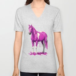 Hot Pink Dripping Wet Paint Horse Unisex V-Neck