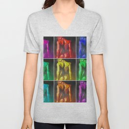 Nine Nudes Pop Art Collage Unisex V-Neck