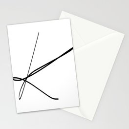 """ Singles Collection "" - One Line Minimal Letter K Print Stationery Cards"