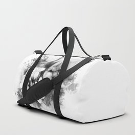 Butterflies and Frangipani in black and white Duffle Bag