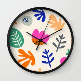 Floral Paper Cutout Collage Pattern Wall Clock