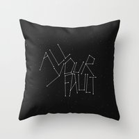 witchoria Throw Pillows featuring All Your Fault by witchoria