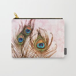 Boho Chic Peacock Feathers Pink Mandala Sun Carry-All Pouch