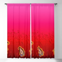 red jewel paisley border Blackout Curtain