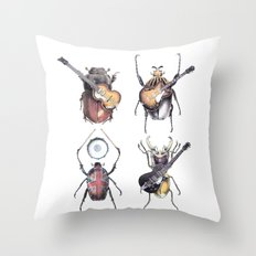 Meet the Beetles (white option) Throw Pillow