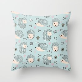 So Many Happy Little Hedgehogs To Hug Pattern Throw Pillow