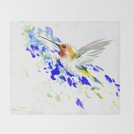 Hummingbird and Blue Flowers Throw Blanket
