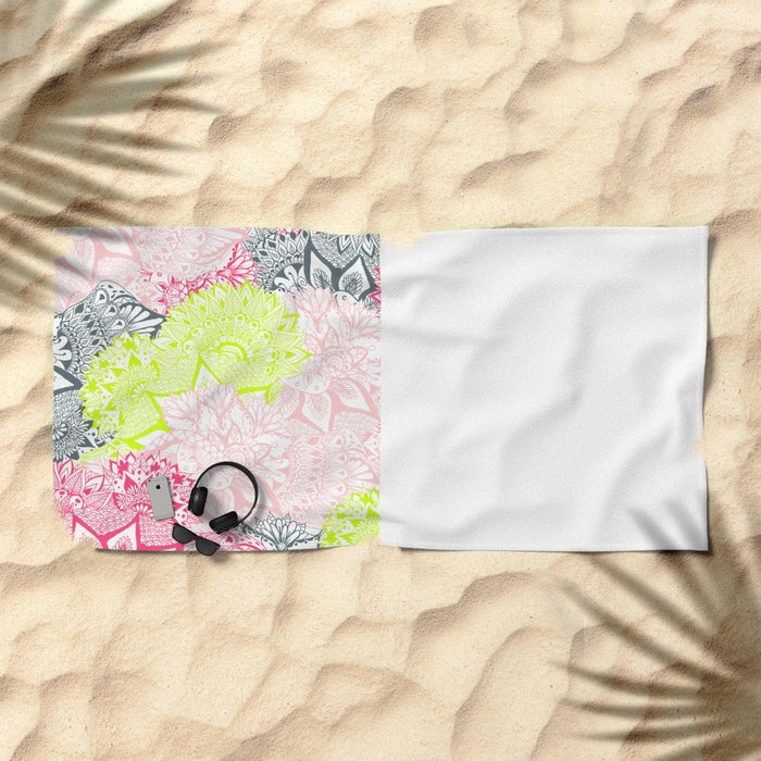 Bright neon yellow henna floral paisley pattern  Beach Towel