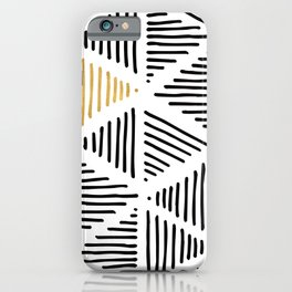 Simple Geometric Zig Zag Pattern - Black Gold White - Mix & Match with Simplicity of life iPhone Case
