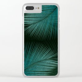 Palm leaf synchronicity - twilight teal Clear iPhone Case