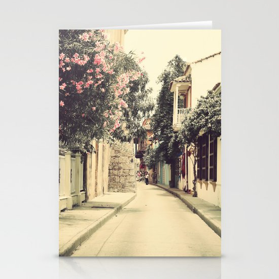 Just like a dream street, Cartagena (Retro and Vintage Urban, architecture photography) Stationery Cards