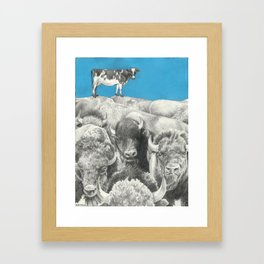Atop the Herd - Digitally Altered Graphite Drawing - 2014 Framed Art Print