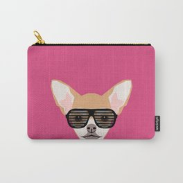 Misha with Glasses - Aviator glasses, hipster glasses, chihuahua, dog, cute, pet, cute dog Carry-All Pouch