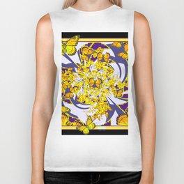 Modern Art Yellow Butterflies Purple Patterns Biker Tank