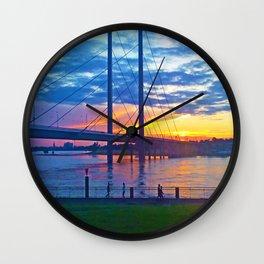 Düsseldorf Bridge @ early night Wall Clock