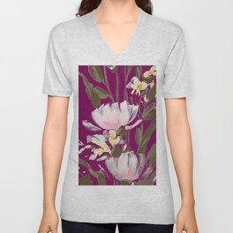 tulips on plum Unisex V-Neck