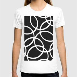 Interlocking White Circles Artistic Design T-shirt