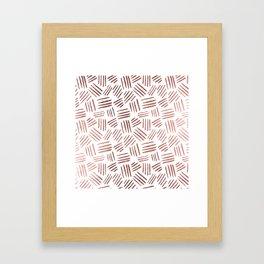 Elegant faux rose gold modern geometric stripes Framed Art Print