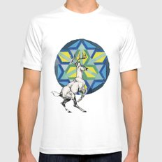 STAG MEDIUM Mens Fitted Tee White