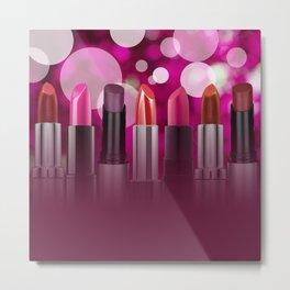 Lipstick Circles Bubbles Cosmetic Cosmetics Metal Print