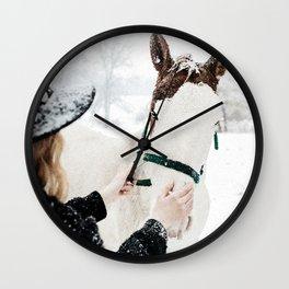 Horsey Girl in Snow Wall Clock