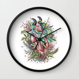 Flowers and Demons Wall Clock