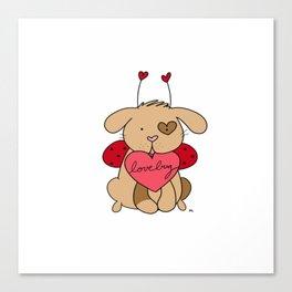 Valentine Puppy Love Bug Canvas Print