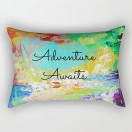 ADVENTURE AWAITS Wanderlust Typography Explore Summer Nature Rainbow Abstract Fine Art Painting Rectangular Pillow