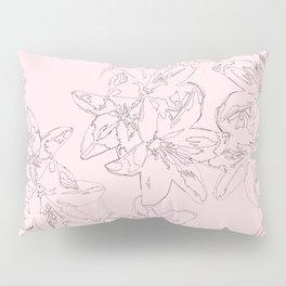 pink line art floral pattern Pillow Sham