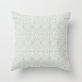Geometry art decó in blue and orange Throw Pillow