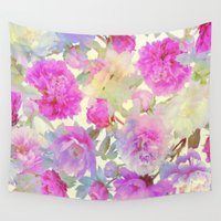 peonies Wall Tapestries featuring soft peonies by clemm