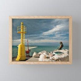 The pier in Senigallia at sunset Framed Mini Art Print