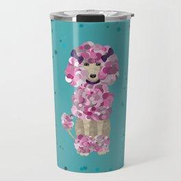 Fun Paint Splatter Poodle on Teal Travel Mug