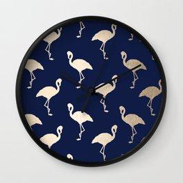 Gold Flamingo Pattern Navy Blue Wall Clock