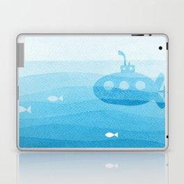 submarine, blue watercolor Laptop & iPad Skin