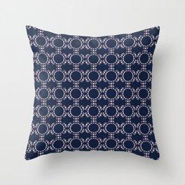 Navy Lace Throw Pillow