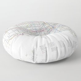 U.S. Numbered Highways as a Subway Map Floor Pillow