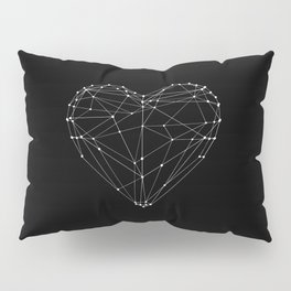Polygon Love Heart modern black and white minimalist home room wall decor canvas Pillow Sham