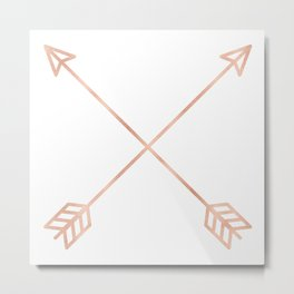 Rose Gold Arrows on White Metal Print