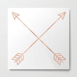 Rose Gold Arrows on White Metal Print