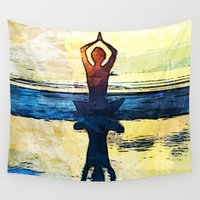 yoga Wall Tapestries featuring yoga by Chantale Roger